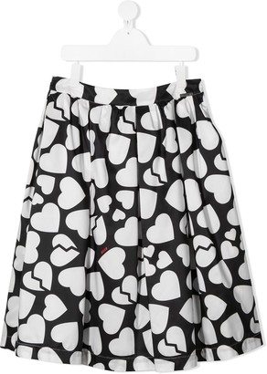 Msgm Kids TEEN heart-print A-line skirt