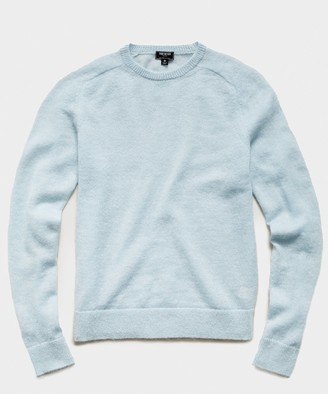 Todd Snyder Brushed Italian Mohair Wool Sweater in Light Blue