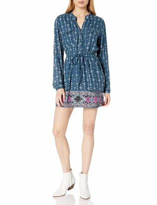 Angie Women's Juniors Border Print Prussian Blue Shirtdress Small