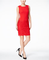 Calvin Klein Petite Lace-Inset Sheath Dress