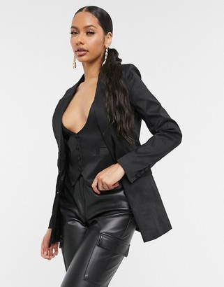 UNIQUE21 single breasted taffeta blazer in black