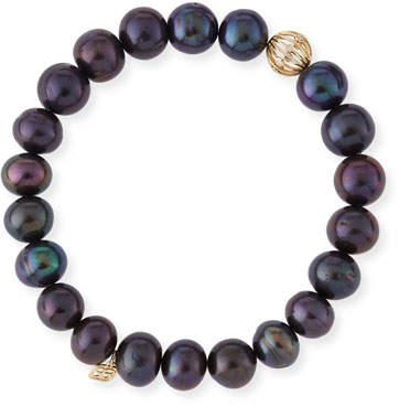 Sydney Evan Black Peacock Pearl Beaded Bracelet with Diamond Ball Spacer