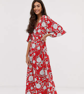 Brave Soul Tall kea midi wrap dress in bold floral print-Red