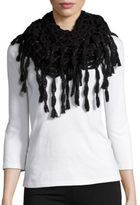 Steve Madden Metallic-Infused Open-Knit Fringed Infinity Scarf