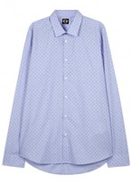 Kenzo Light Blue Flower-print Cotton Shirt