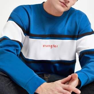 Wrangler Mens River Island Blue colour block sweatshirt