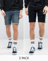 Asos Denim Skinny Shorts With Thigh Rip In Black & Mid Blue Save