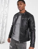 Esprit leather biker jacket in black