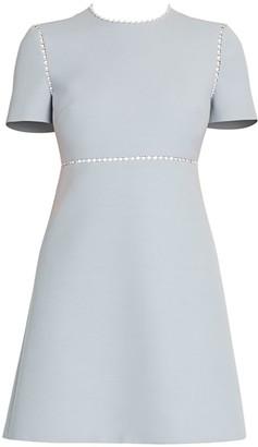 Miu Miu Faux Pearl-Embellished Tricotine Cotton Dress