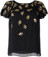 Oscar de la Renta sequined applique T-shirt