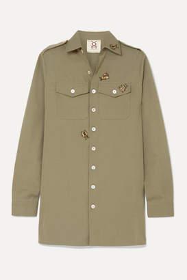 Figue Appliquéd Cotton Shirt - Army green