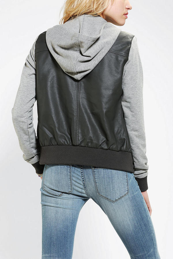 Urban Outfitters Members Only Hooded Vegan Leather Bomber Jacket