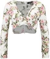 Missguided FLORAL TIE FRONT LONG SLEEVE Blouse cream