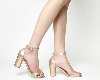 Office Henna Cylindrical Block Heel Rose Gold Leather