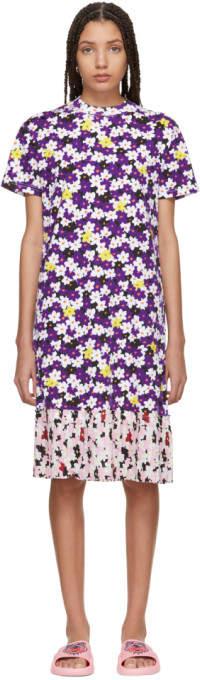 Kenzo Multicolor Mix Floral Pleat T-Shirt Dress
