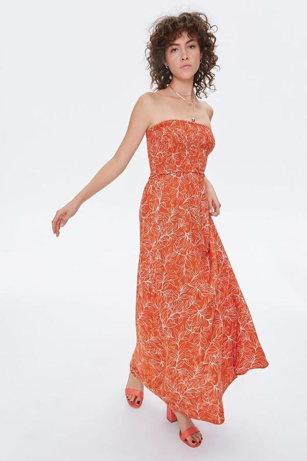 Forever 21 Tropical Print Maxi Tube Dress