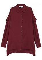 Diane von Furstenberg Burgundy Tiered Silk Shirt