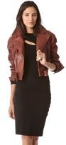 Donna Karan Cropped Leather Biker Jacket