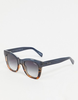 Quay After Hours oversized square sunglasses in navy to brown tort fade