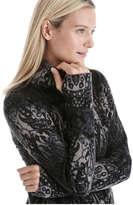 Joe Fresh Women's Print Fleece Active Jacket, Black (Size M)