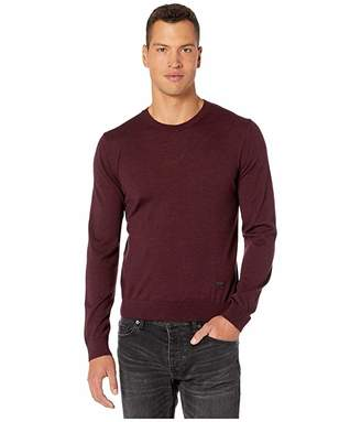 The Kooples Round Neck Pullover with Leather Inserts At Shoulders