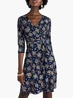 Yumi Chintz Floral Jersey Wrap Dress, Navy