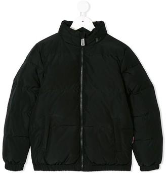 MOSCHINO BAMBINO Italia logo print padded jacket