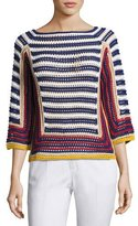 RED Valentino 3/4-Sleeve Striped Crocheted Cotton Sweater