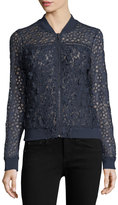 T Tahari Fatima Mixed-Lace Bomber Jacket