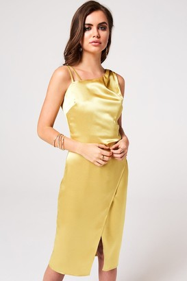 Girls On Film Kingly Yellow Satin Midi Slip Dress