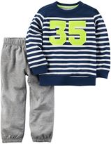 Carter's Baby Boy Striped Sweatshirt & Solid Sweatpants Set