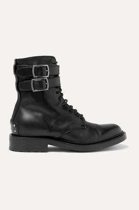 Saint Laurent Army Lace-up Leather Ankle Boots - Black