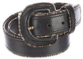 Lela Rose Leather Zip-Accented Belt