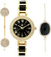 INC International Concepts Women's Gold-Tone and Black Acrylic Bracelet Watch & Bracelets Set 30mm, Only at Macy's