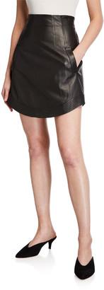 Veronica Beard Reggie Leather Short Skirt