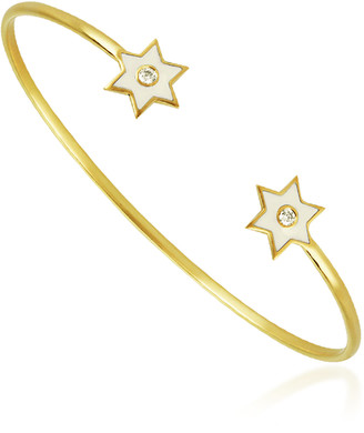 Amrapali 6 Point Star 18K Yellow-Gold and Diamond Cuff Bracelet