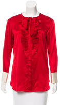 Lanvin Pleat-Accented Button-Up Top