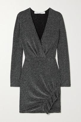 IRO Noize Ruffled Wrap-effect Metallic Ribbed-knit Mini Dress - Black