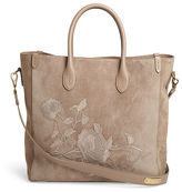 Ralph Lauren Embroidered Suede Tote