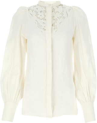 Isabel Marant Lace Detail Puff Sleeve Blouse