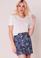 Missy Empire Beatrice Blue Camouflage Denim Button Detail Mini Skirt