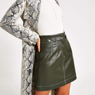 River Island Womens Khaki contrast stitch mini skirt