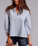 Stetson Blue & White Three-Quarter Sleeve Top - Women