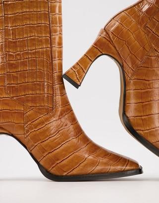 ASOS DESIGN Radius premium leather high heeled boots in tan croc