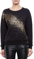 Saint Laurent Sequin-Dusted Cotton Sweatshirt, Black