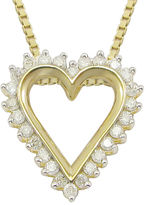 JCPenney FINE JEWELRY 1/10 CT. T.W Diamond Heart 14K Yellow Gold Over Sterling Silver Pendant Necklace