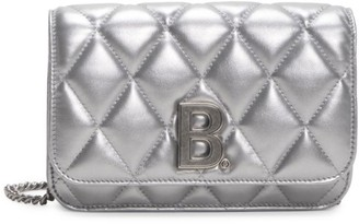 Balenciaga B Quilted Metallic Leather Wallet-On-Chain