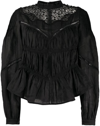 Isabel Marant Jour Echelle-Trimmed Gathered Blouse