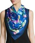 salvatore ferragamo alabastro floral gancini silk scarf bluemulticolor