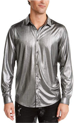 INC International Concepts I.n.c. Men Onyx Crinkled Foil Silver Metallic Shirt